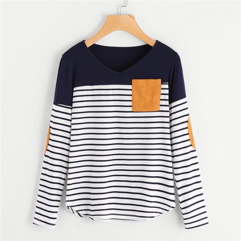 Striped Patchwork Long Sleeve Top