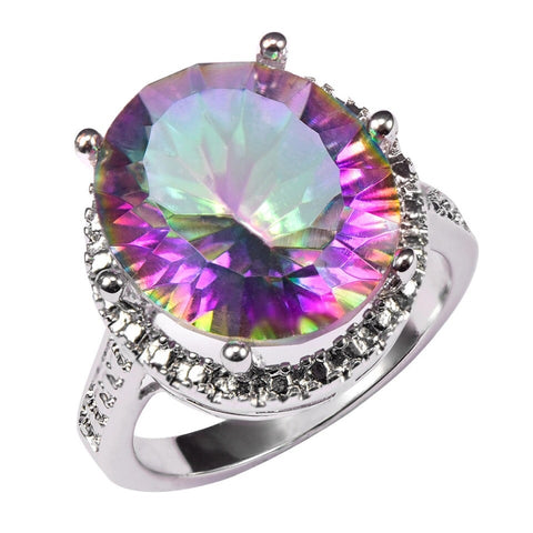 Mystic Rainbow Topaz Sterling Silver Ring