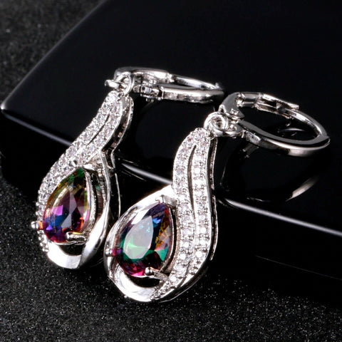 Multi-Colour Tourmaline and White Topaz Sterling Silver Drop Earrings