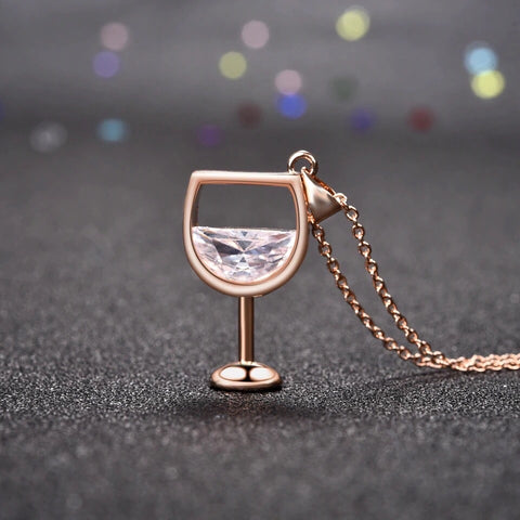 Wine Glass Pendant Necklace (3 colour choices)