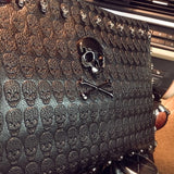 Faux Leather Skull Crossbones Envelope Clutch Bag