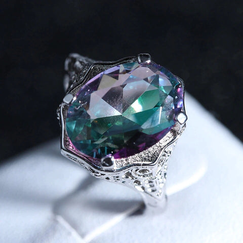 3 ct Multi-Coloured Zircon Stone set in 925 Sterling Silver Ring