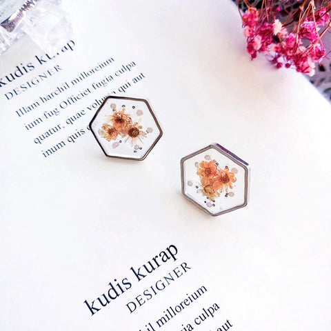 Hexagonal Botanical Flower Earrings