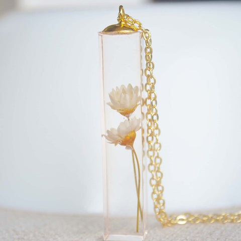 Botanical Natural Flowers Pendant Necklace