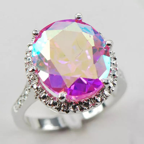 Rose Rainbow Topaz and White Topaz Sterling Silver Ring