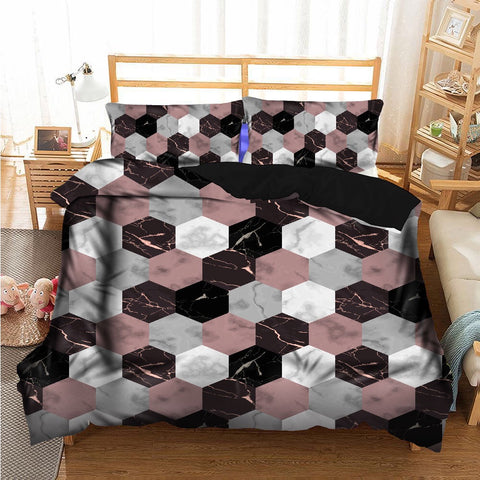 Honeycomb Marble Duvet Set
