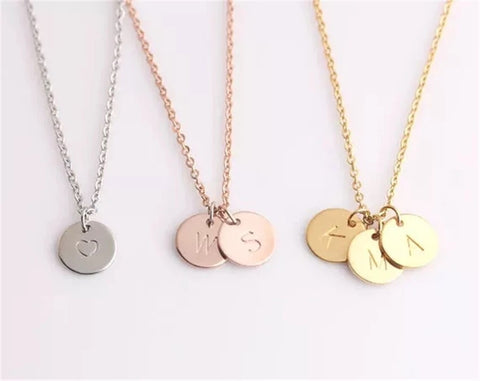 Personalised Initial Disc Pendant Necklace (up to 3 pendants & 5 colour choices)