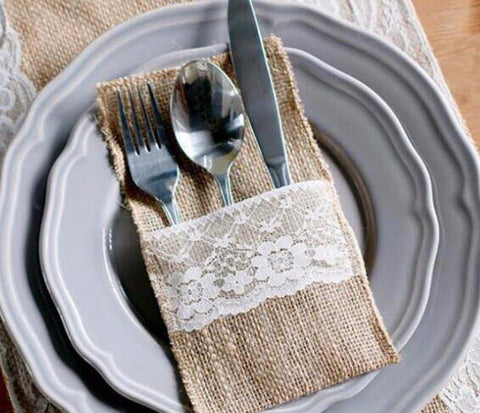 Burlap & Lace Cutlery Holder