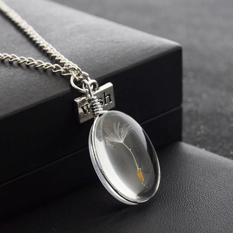 Botanical Dandelion Cabochon Pendant Necklace Set