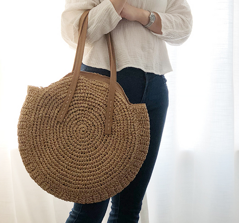 Woven Rattan Casual Tote Bag