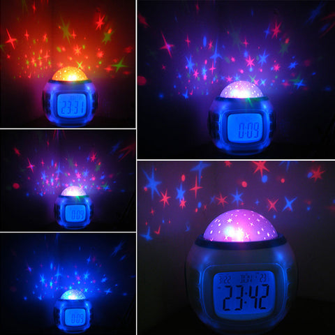 Kids Star Projection Digital Clock & Night Light