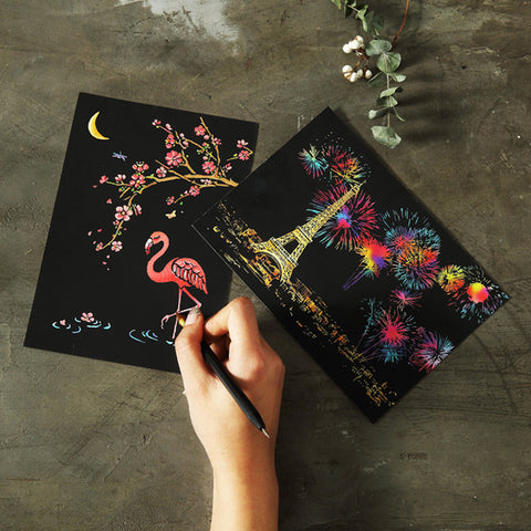 4-Piece Magic Scratch Art Paper with Drawing Stick