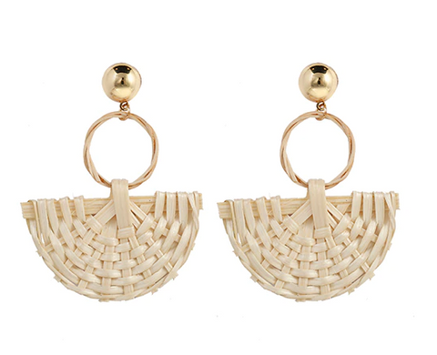 Rattan Weave Fan Earrings
