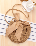 Crochet Woven Straw Bow Detail Shoulder Bag (2 Colour choices)