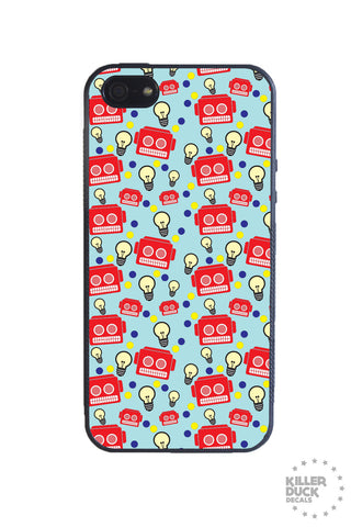 Blue Robot Pattern iPhone Case