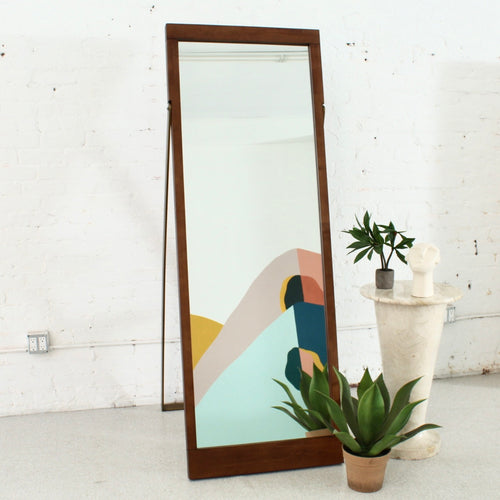 Wood & Bronze Floor Mirror