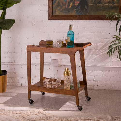 Sleek Wood Bar Cart - As Is