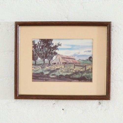 Framed Farmhouse Scene Print