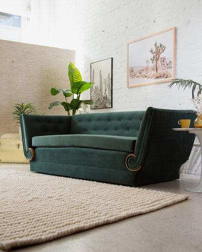 Art Deco Forest Green Sofa