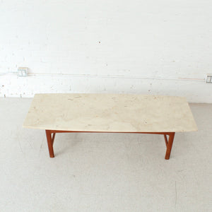 Dux Danish Folke Ohlsson Coffee Table with Travertine Top