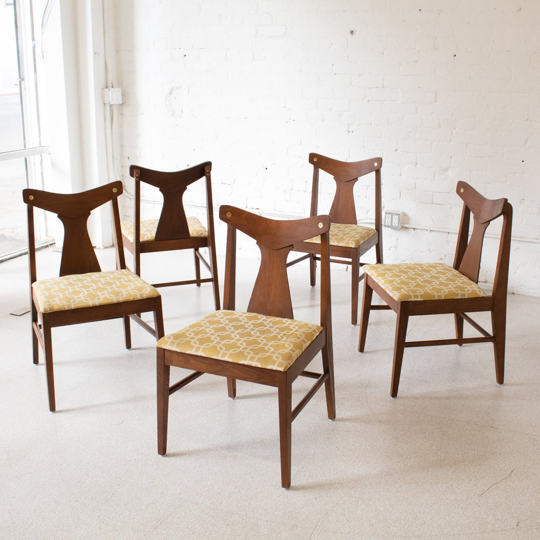 Set of 5 Walnut & Gold Horn Chairs