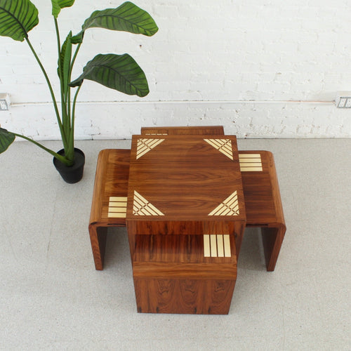 Art Deco Inlay Pullout Coffee Table
