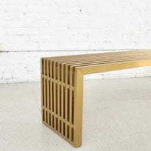 Load image into Gallery viewer, Stella Slat Brass Bench in 60""