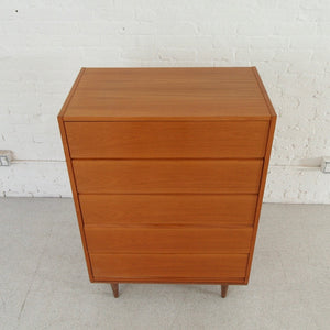 Teak Vintage Highboy Five Drawer Dresser