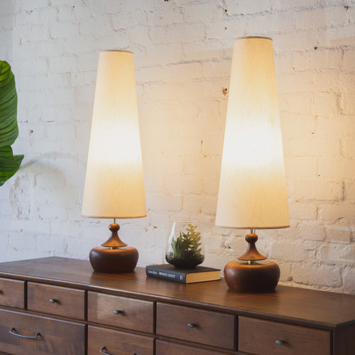 Pair of Rare Wood Lamps w/ Wood Pull Switch
