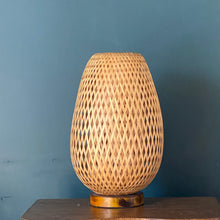 Load image into Gallery viewer, Rattan Lamp with Wood Base