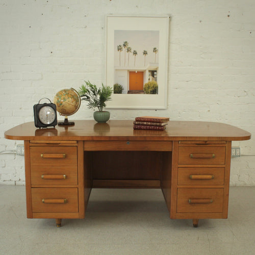 Solid Wood Tanker Executive Desk - As Is