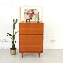 Load image into Gallery viewer, Teak Vintage Highboy Five Drawer Dresser