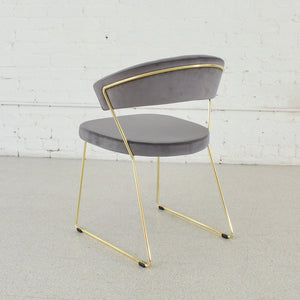 Grey Velvet & Gold Chairs Set of Four