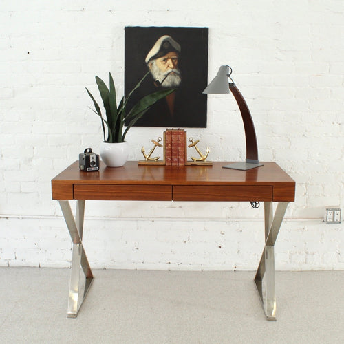 Tabatha Walnut Modern Desk w/Chrome Legs