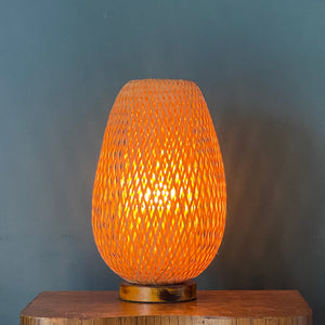 Rattan Lamp with Wood Base