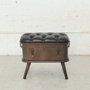 Tufted Leather Bench with Storage
