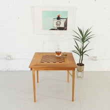 Load image into Gallery viewer, Danish Checkered Teak Foldable Dining Table