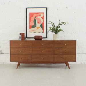 Hansen Nine Drawer Walnut Dresser