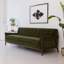 Load image into Gallery viewer, Franklin Sunbeam Exclusive Sofa in Olive Green Velvet