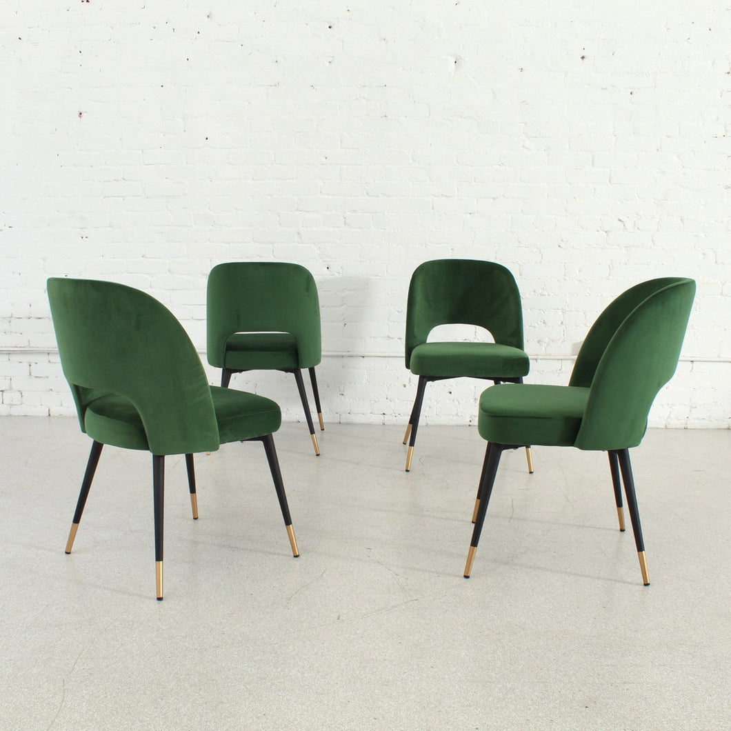Bethany Green Velvet w/Black Legs Dining Chair