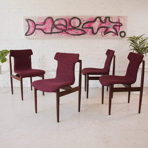 Deep Fuschia Dining Chairs Reupholstered