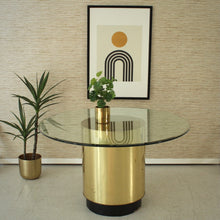 Load image into Gallery viewer, 1970's Brass Plinth Base Dining Table