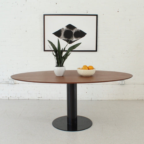 Oval Walnut Dining Table with Black Base