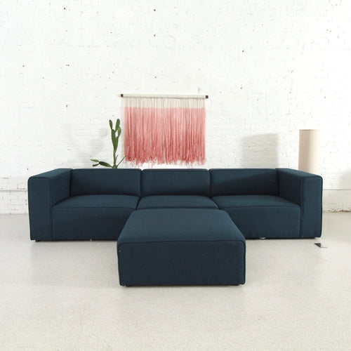 Sinclair Dark Blue Sectional with Ottoman