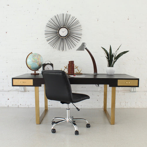 Black & Gold Large Executive Desk