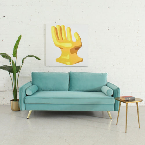 Nalini Mint Sofa with Gold Legs