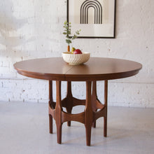 Load image into Gallery viewer, Restored Walnut Sculpted Base Dining Table w/ Two Leaves