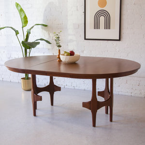 Restored Walnut Sculpted Base Dining Table w/ Two Leaves