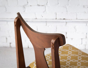 Walnut & Gold Horn Chairs - Set of 5