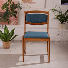 Load image into Gallery viewer, Blue Tweed Teak Dining Chairs